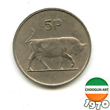 A 1970 Irish Copper-Nickel FIVE PENCE 5p coin, 50 Years Old!