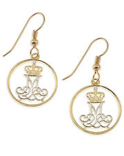 "5/8"" in Diameter, ( # 83E ) Denmark Coin Earrings, 14K Gold and Rhodium Plated,"