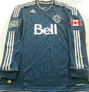 VANCOUVER WHITECAPS JERSEY LONG SLEEVE AUTHENTIC ADIDAS SIZE L IN EXCELLENT COND