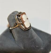 Antique Art Deco 14K White Gold Filigree Amethyst Cameo Flip Ring SZ 4 A++