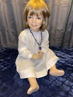 "Hindsgaul Vintage Girl Toddler 20"" Tall Sitting Beautiful Rare Glass Eyes"