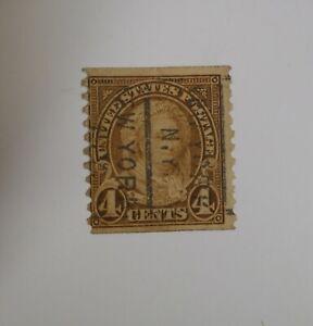 Rare Scott #601, 4 Cent Martha Washington, 1923 to 29, Coil Stamp, Precancel NY
