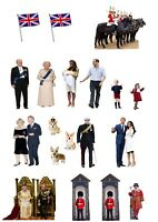 19 STAND UP British Royal Family Edible Wafer Paper Cake Toppers Decorations