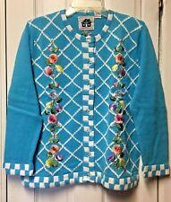 Storybook Knits Rose Lattice Sweater Cardigan Tank Top Turquoise 2 Pc Set Sz M