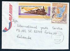 Congo Brazzaville 1980  a cover to Finland, Train, Locomotive