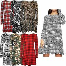 New Ladies Printed Full Sleeve Waterfall Hanky Hem Skater Swing Dress 8-22