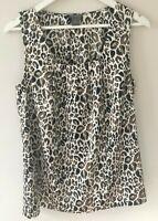 Ann Taylor Brown Cream Leopard Print Sleeveless Top Blouse Shirt Career Size 10