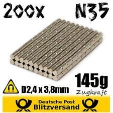 200x Neodym Magnet Zylinder D2,4x3,8mm Minimagnet Magnetset Zaubermagnete