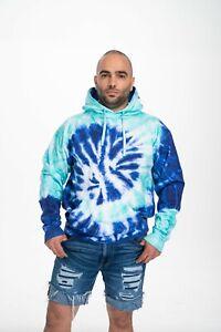 Tie Dye Seafoam Navy Multi Color Pullover Hoodie Sweatshirt Pocket Unisex Large