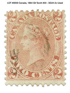0059: Canada, 1864 QV Scott #20 - SG44 2c Used
