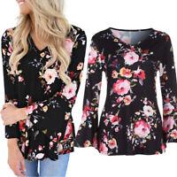 Women Autumn Flare Long Sleeve Top T-Shirt Loose Floral Print Blouse Shirt Plus