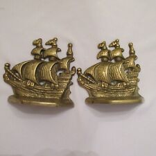 Brass Galleon/Clipper Ship Bookends/Doorstops 4 Inch Unbranded