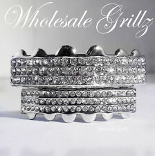 BLING! NEW PLATINUM SILVER STYLE GRILLZ 6 ROW ICED OUT HIP HOP GRILLS TEETH CAPS
