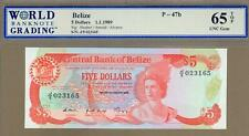 BELIZE: 5 Dollars Banknote,(UNC WBG65),P-47b, 01.01.1989,No Reserve!