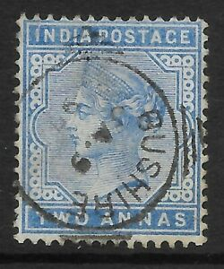 """STAMPS-INDIA USED ABROAD. 1882. 2a Blue. SG: Z157. Used """"Bushire"""" Squared Circle"""