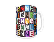 KENNETH Coffee Mug / Cup featuring the name in photos of sign letters