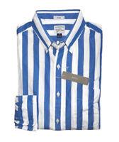 J Crew - Mens XL - Slim Fit - NWT - Blue Cabana Striped Secret Wash Casual Shirt