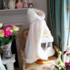 NEW Winter Wedding Flower Girl Cloak Faux Fur Trim Little Girls Jacket Cape