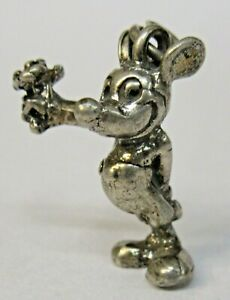 Disney MICKEY MOUSE Sterling Silver 1940's solid cast figural charm mint