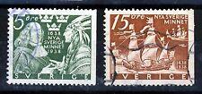 SWEDEN 1938 300th. Anniversary New Sweden Set P12½ 3 Sides SG 203b & SG 204b VFU