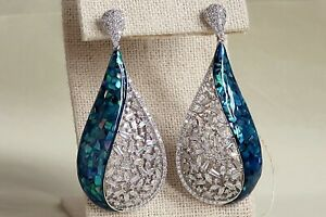 Stunning Large Statement Earrings, Baguett Cz crystal sparkling top quality rare