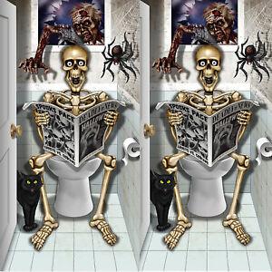 3-tlg Halloween Wandfolie Skelett Dekoration