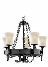 Searchlight 5 Light Wrought Iron Cartwheel Fitting Complete With Glass