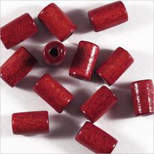 Lot de 50 Perles en Bois Tubes 6 x 10 mm Rouge Bordeaux