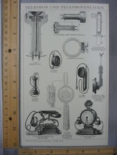 Rare Antique Original VTG Telephone Lines Chart Illustration Art Print