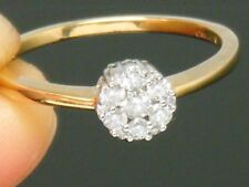 9ct Yellow Gold 9K Gold 0.25CT Diamond  Cluster Engagement ring size P