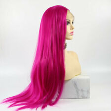 US 24inch Synthetic hair Lace front wigs Straight Party Rose Pink