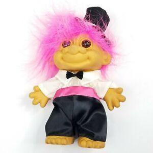 "RARE 1990's * RUSS * Brand Troll, 9"" Tall Groom: #18347 Pink Hair, Top Hat"