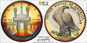 PR68DCAM 1984-S $1 LA Olympic Silver Dollar, PCGS Secure- Stunning Rainbow Toned