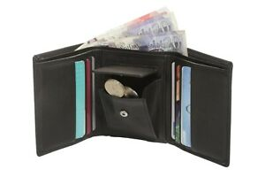 Men Luxury Soft Business Leather Tri-Fold Wallet in Premium Natural Soft Leather