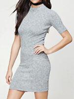 Forever 21 Marled Grey High Neck Bodycon Stretch Short Sleeve Mini Dress M Nwt
