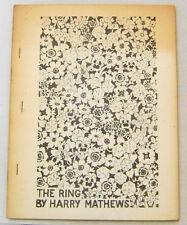 Scarce Poetry Book HARRY MATHEWS The Ring 1970 1st Ed Juillard Editions
