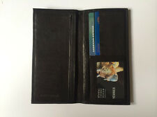 Black Leather Checkbook Organizer Credit Card Cash Slot ID Card Holder Wallet