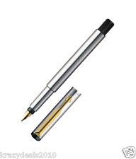 Parker Vector Steel Gold Trim GT Fountain Ink Pen, Fine Gold Nib, Converter New