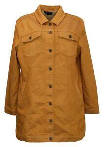 DG2 by Diane Gilman Women's Sz L Classic Stretch Long Denim Jacket Brown 715065