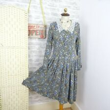 vintage Laura Ashley dress viscose wool ditsy floral REPAIRED blue green S D711