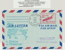 PHILIPPINES 1952 EARLY 1sT FLT MANILA-GERMANY AIR LETTER, HABERER CAT#2418