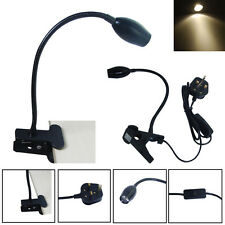 LED Flexible Neck Warmlight Clamp Lamp Clip on Spot Light for Reading Desk UK