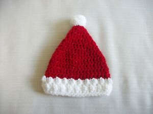 Crochet Santa Hat *Choose size* Christmas Red & White 0-3m,3-6m,6-12m Photo Prop