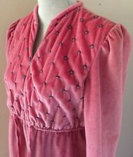 Vintage Jolie Two Full Length Velour Long Sleeve House Robe Dress  Medium USA