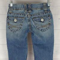 Aeropostale Elastic Waist Bayla Skinny Womens 00 Blue Light Wash Low Flap Jeans