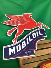 VINTAGE MOBILOIL PORCELAIN SIGN GAS STATION PUMP PLATE MOBIL PEGASUS MOTOR OIL