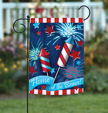 NEW Toland - Home of the Brave - Patriotic USA America Fireworks Garden Flag
