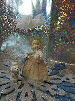 Vintage Napco /Lipperman? Victorian Girl w/Lace Parasol Walking Poodle