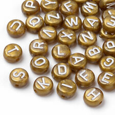100 BULK Beads Alphabet Letter Beads Assorted Lot Wholesale Beads Gold Acrylic