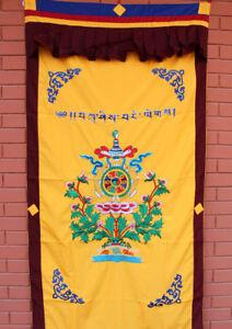 Heavy Embroidered Lotus and Eight Auspicious Symbol Silk Door Curtain